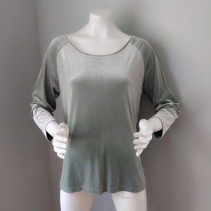 Vtg 90s Gap Sage Green Velvet Ballet Neck Top XL